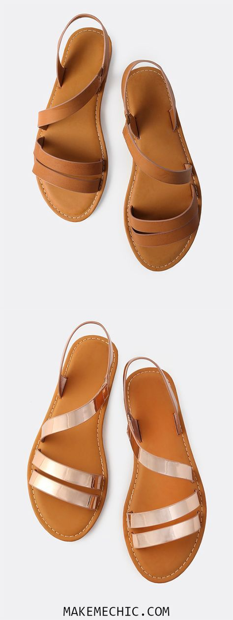 Open Toe Wrap Over Sandals TAN