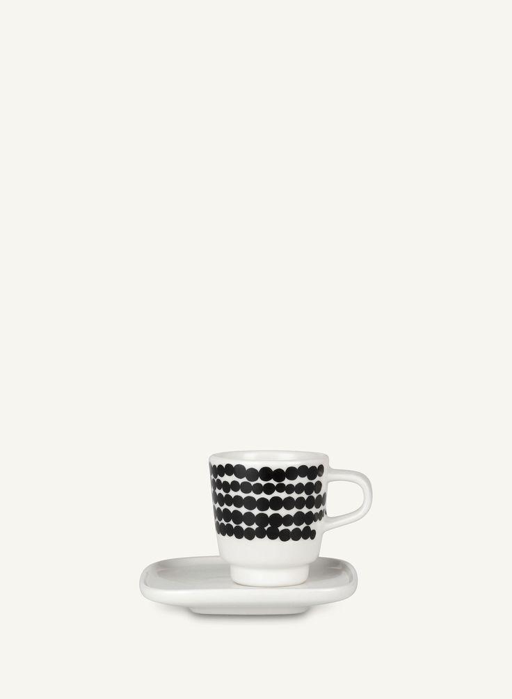 Oiva/Siirtolapuutarha -espressokuppi ja lautanen