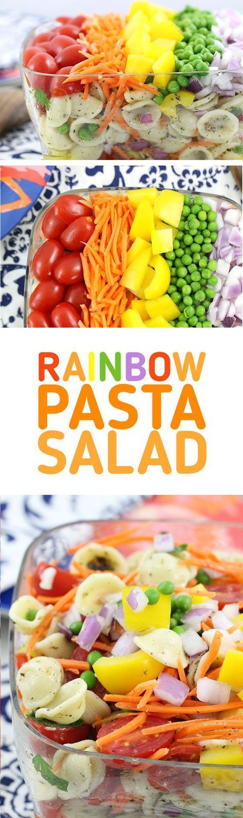 Rainbow Pasta Salad that's SO easy to make. Crowd Pleaser with colorful fresh veggies. Make extra pretty and delish with HemisFares Orecchiette pasta. #ad