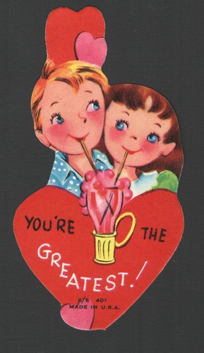 Vintage Valentines Day Card Big Blue Eye Kids Sharing Pink Ice Cream Soda Unused | eBay