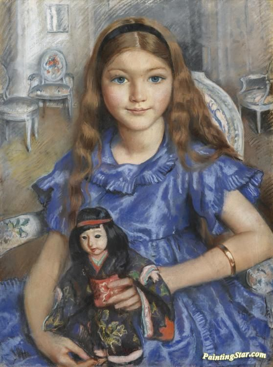Girl with a doll Artwork by Zinaida Serebriakova Hand-painted and Art Prints on canvas for sale,you can custom the size and frame