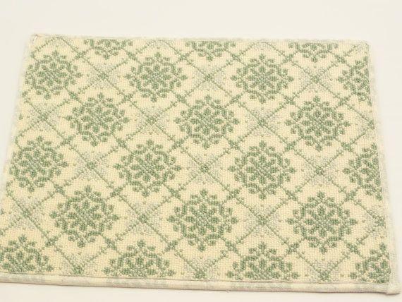 "Door Mat Prestige Mill 14"" x 18"" Celina Apple Green 100% Semi Worsted Wool on Etsy, $5.00"