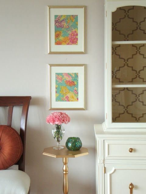 Easy & Inexpensive DIY Art: A Framed Scarf (Honey Sweet Home) (I really like the matte/brushed gold frames and table.)