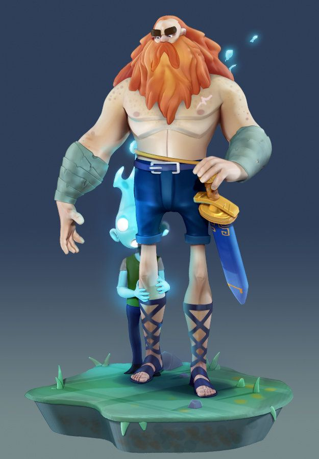 ArtStation - Ghost boy and Defender 3D sculpt (concept by Max Grecke), Daniel Samuelsson