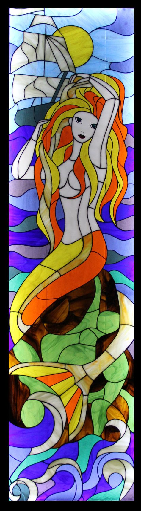 "Mermaid"", based on the stained glass window film Harry Potter"