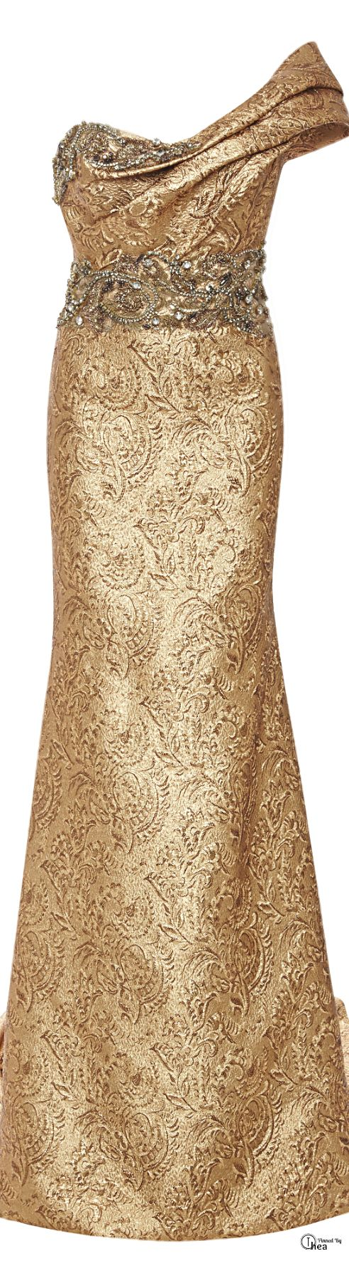 Gold Glamour Gowns ..Marchesa ● Fall 2014, Metallic Brocade Gown