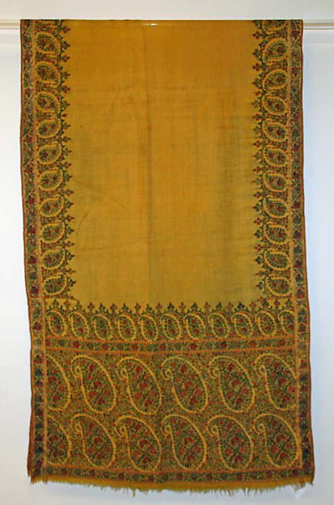 Wool and silk shawl, Indian 1810-20 Met museum