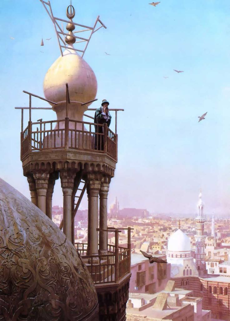 Jean Leon Gerome - A muezzin-calling from the top of a minaret the faithful to prayer