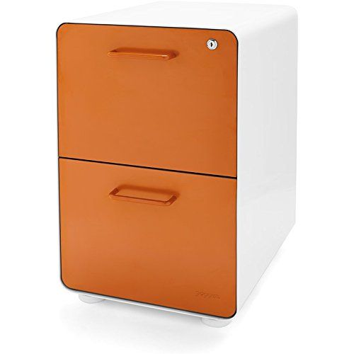 Poppin White + Orange Stow 2-Drawer File Cabinet, Metal, Legal/Letter