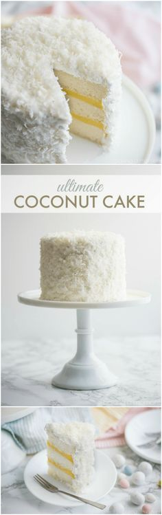 Ultimate Coconut Cake ~ Best coconut cake ever... So much coconut flavor in every component, and it's completely dairy-free!