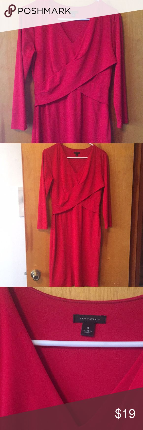 Amazing ❤️ Ann Taylor Dress Beautiful and form fitting red Ann Taylor dress Size 4 ❤️  Hugs in all the right places. Zips on side. Quarter sleeve.  Only issue is tiny hole in bottom right of dress, barley noticeable. Thus major price reduction 🚨 Ann Taylor Dresses