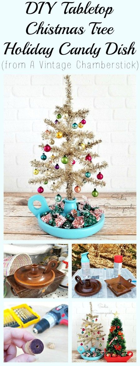 A vintage, outdated wooden chamberstick (a candlestick with a handle or finger hole) is seriously perfect to repurpose and upcycle into a DIY Tabletop Christmas tree stand that doubles as a candy dish! How fun to paint it, prop up a small faux tree, and add wrapped chocolate around the base, as if they were presents and gifts under the tree. Fun, festive holiday decor that serves a tasty purpose! Amazing Christmas craft project from Sadie Seasongoods / www.sadieseasongoods.com