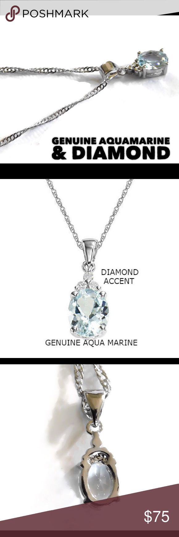 "925 Silver Aquamarine Diamond Accent Necklace A gorgeous solid .925 sterling silver genuine 2ct Aquamarine and diamond Accent necklace. The pendant and Singapore chain are hallmarked with 925. Total length is 18"" inches. nejd Jewelry Necklaces"