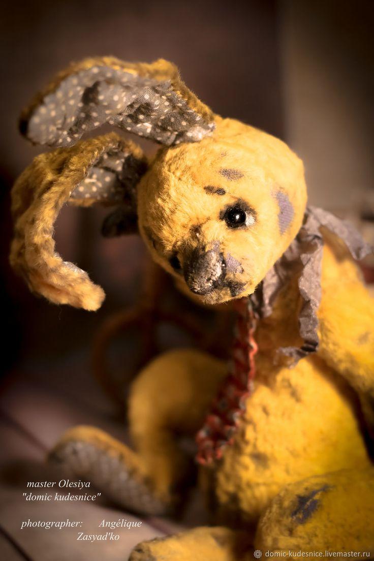 Купить Заяц Гарик - тедди, игрушка, желтый, серый, заяц, винтажный стиль, авторская работа