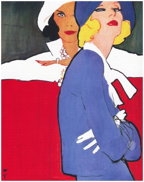 1970s fashion illustration by Rene Gruau.