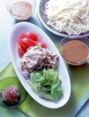 うどん+豚肉の冷しゃぶとゆでキャベツ | 大庭英子さんのレシピ ...