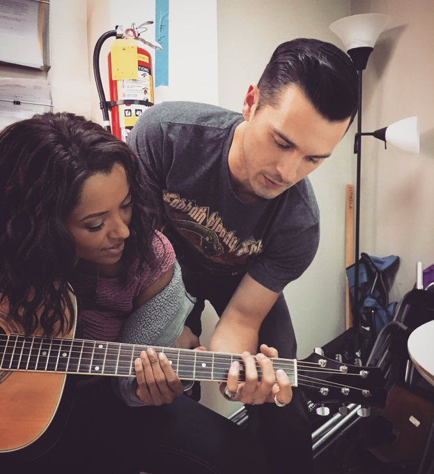 TVD Season 8 Kat Graham and Michael Malarkey BTS
