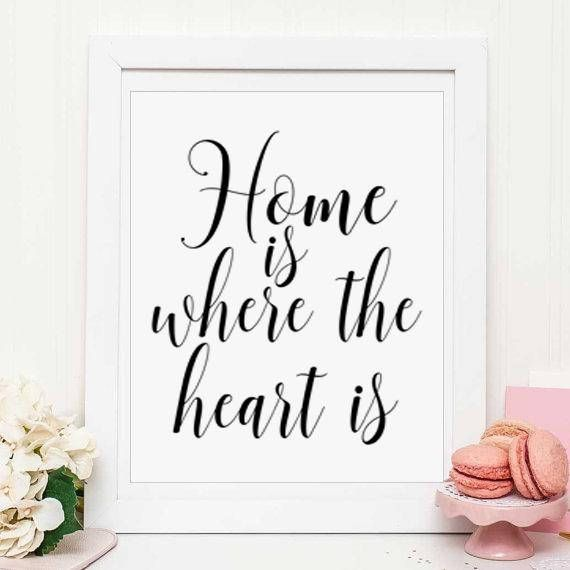 Housewarming Gift Home Is Where the Heart Is Printable Quote