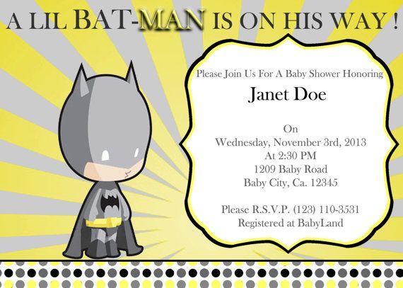 Yellow and gray sunburst batman baby shower invitation.