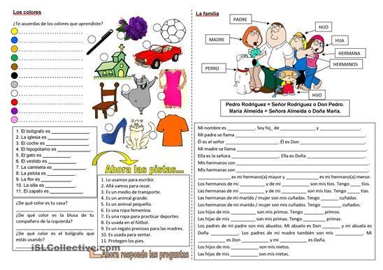 Varios ejercicios con los colores y la familia para practicar y aprender. Editable. Puedes imprimir los dos lados de la hoja y cortar al medio, así tendrás dos hojas de trabajo por cada hoja impresa.  - Trabajos ELE