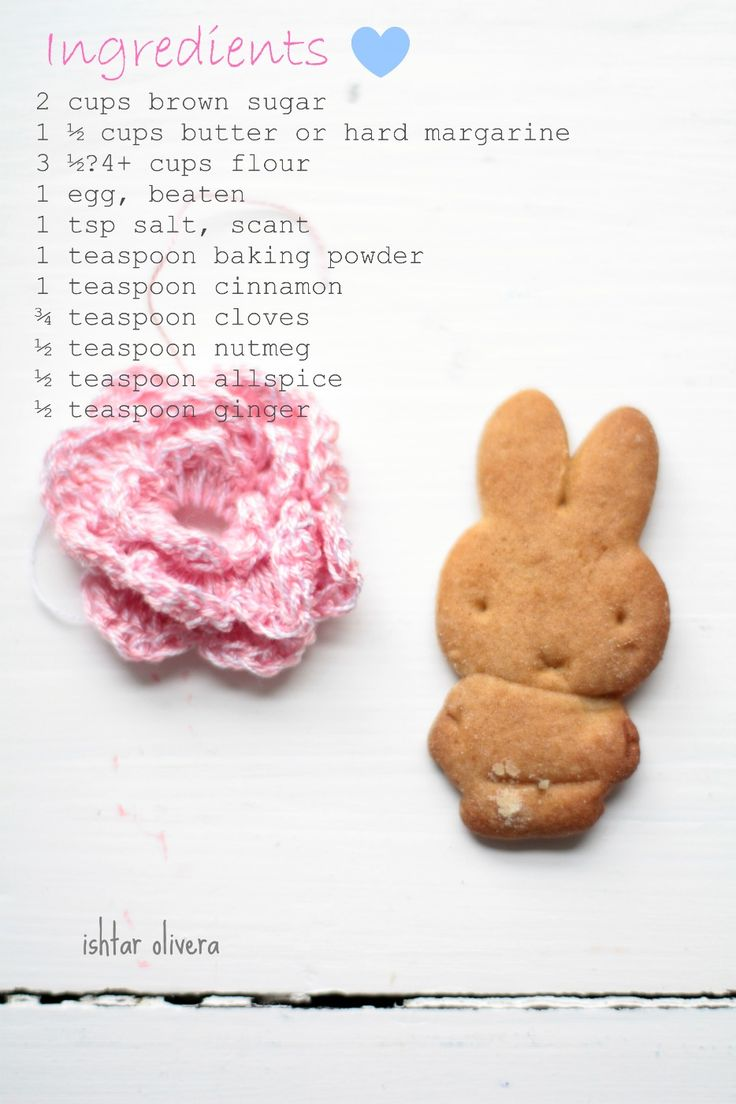 Miffy cookies ♥  Procedure:      Cream butter and sugar. Add remaining ingredients and mix, adding enough flour to form a very stiff dough. Chill for 2 to4 hours. After that time, Cut the cookies and    place on cookie sheet and bake at 350º F. for 8 to 10 minutes.