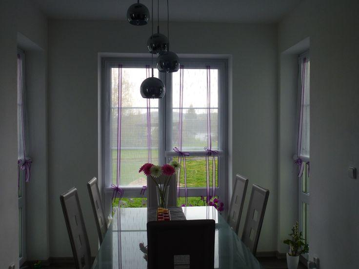 Záclony v jídelně - nově postavený dům v Rumburku