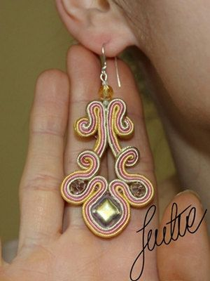 Precious handcrafted earring pastels rose beige by JustineWorld