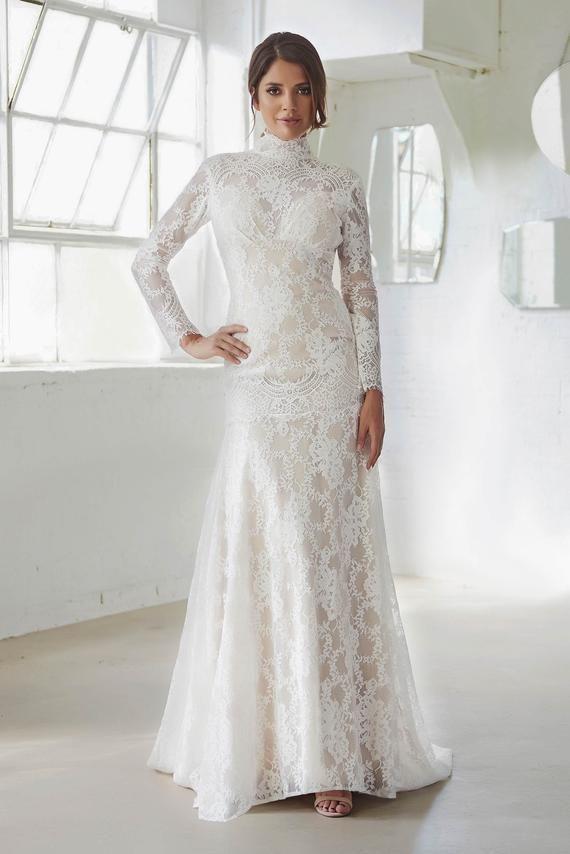 Wedding Dress Boho Wedding Dress With Sleeves High Neck Etsy Wedding Dress Sleeves Vintage Wedding Dress Boho High Neck Wedding Dress