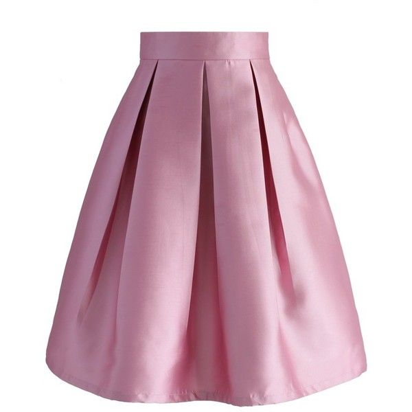 Chicwish All Time Essential Pleated Skirt in Pink ($42) ❤ liked on Polyvore featuring skirts and pink