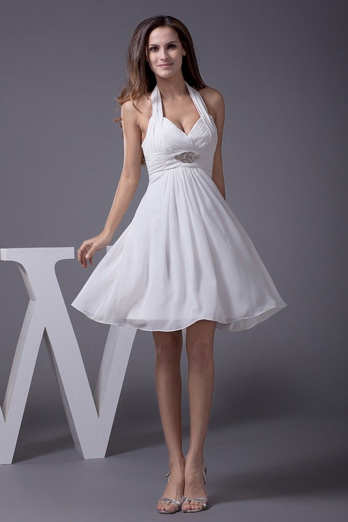 Halter Short Wedding Dresses Backless For Beach Wedding Cute Chiffon
