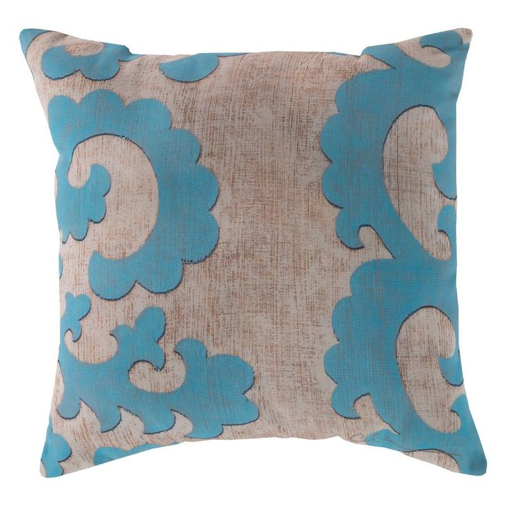 Surya Smooth Scroll Outdoor Pillow Beige & Teal - RG017-1818
