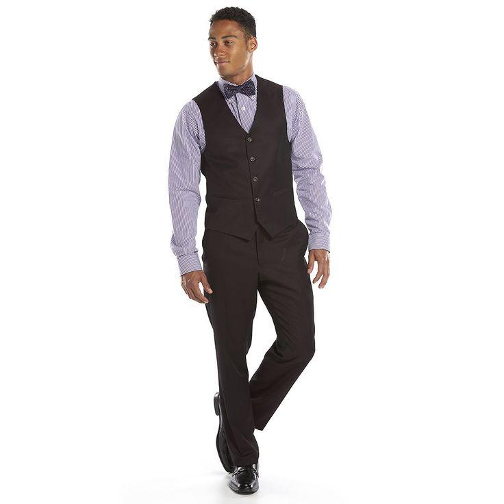 Men's Steve Harvey Classic-Fit Maroon Suit Vest, Size: Medium, Red