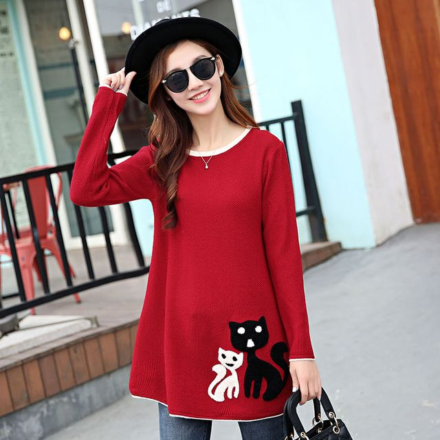 Buy now 2017  New Autumn Fashion Women Leisure  The long Sleeve  Kitten Applique Loose  knit Sweater Lady  Winter Coat  hedging Sweater just only $13.58 with free shipping worldwide  #womansweaters Plese click on picture to see our special price for you