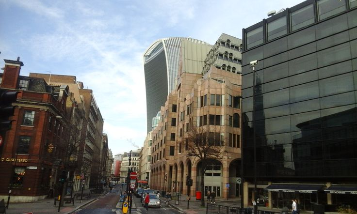 """England , London 14-2-16  On the background a slice of the  strage skyscraper named by  the londoners """"Walkie Talkie"""" ."""
