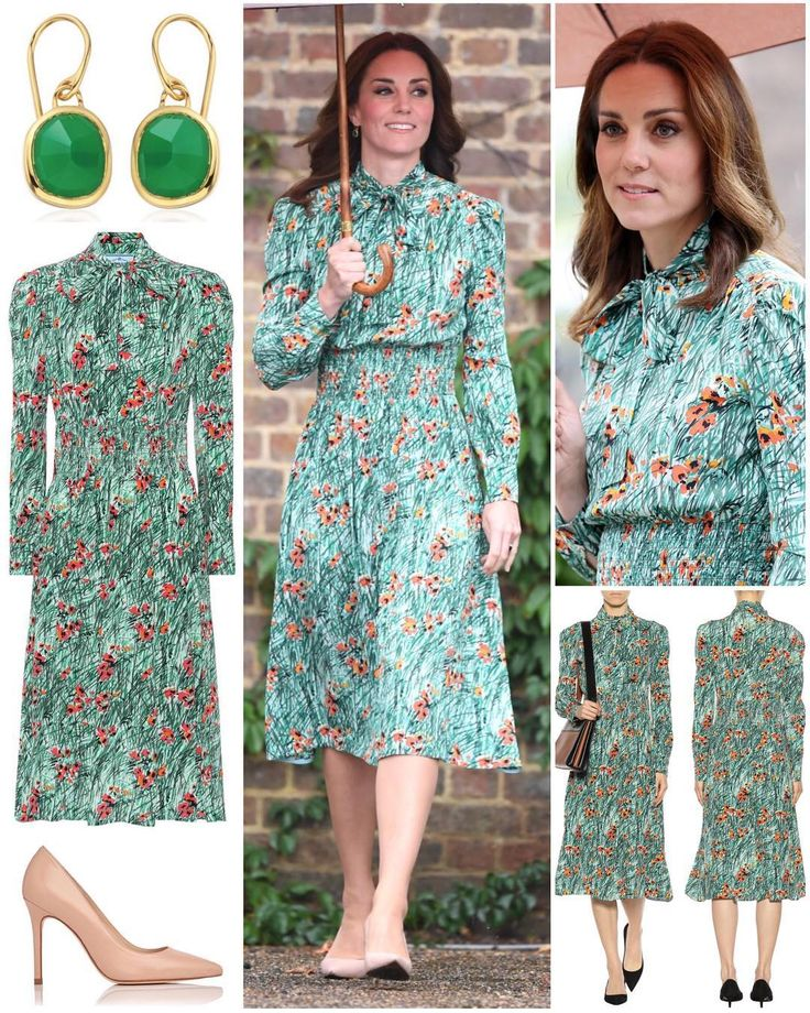 """""""The Duchess braved the rain to visit Kensington Palace's White Garden in a new floral dress by…"""""""
