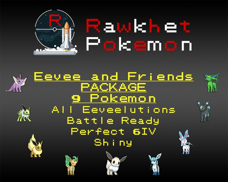 Get all 8 Eeveelutions and Eevee! The Eeveelutions have Perfect 6IVs and are all battle ready and fully trained. Eevee at Level 1 and untrained.  You can choose to have them Shiny or not! Note that no further customization is allowed on this package.  List of Pokemon: Eevee, Vaporeon, Jolteon, Flareon, Espeon, Umbreon, Leafeon, Glaceon, Syvleon