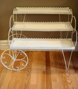 Vintage White Metal Plant Flower Stand Planter 3 Tier Wheels Violet Mid Century Ebay The Great Outdoors Pinterest Flowers Plants And Stands
