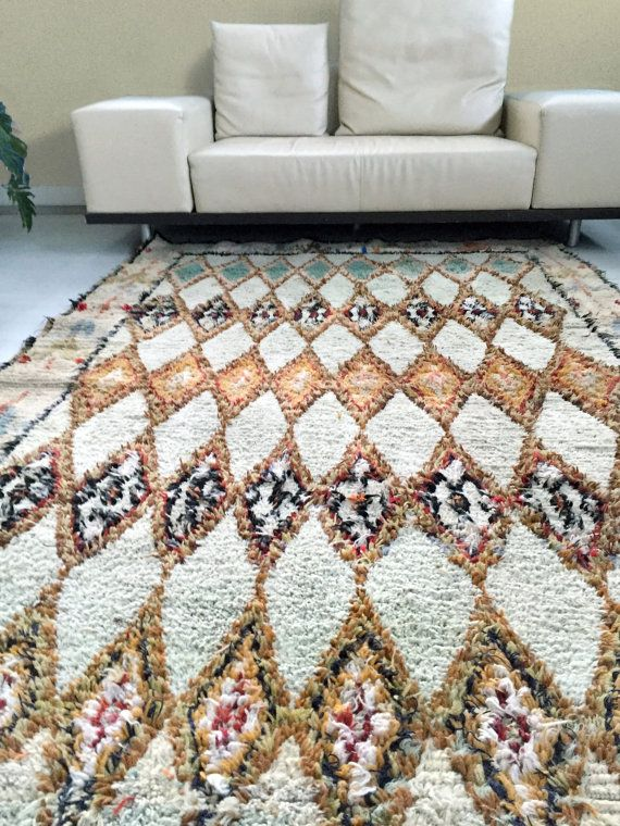 65 years old Large Moroccan rug, Azilal rug, Boucherouite, Berber rug, Morrocan decor, Vintage rug, Colorful rug CUMIN AND CINNAMON  ******  This