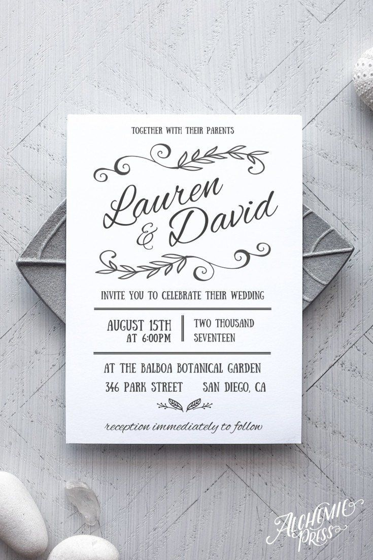 Printable Rustic Wedding Invitation Template - Rustica - by alchemiepress.com