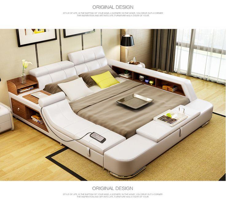 سرير الجلد الحديث سرير مزدوج 1 8 متر سرير نظام تخزين سرير الزواج سرير ناعم السرير المربح غرفة نوم Bed Design Cool Kids Bedrooms Bedroom Design