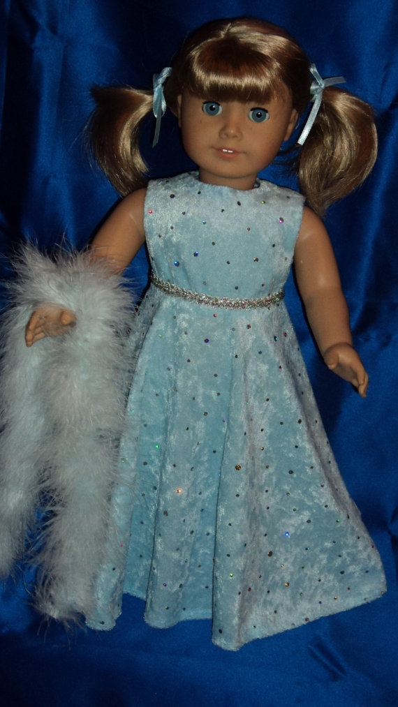 American Girl doll clothes  Light Blue Gown and by susiestitchit, $16.00