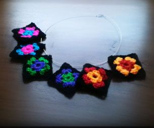 Granny Square Necklace Designed by Christy Lutz/canncrochet