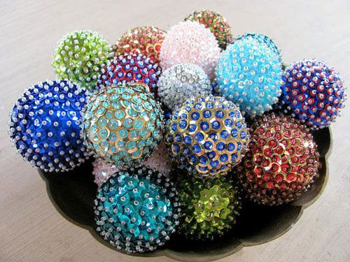 38 Handmade Christmas Ornaments - DIY Sequins Ornaments