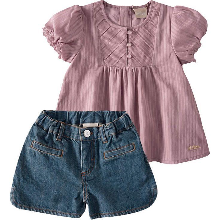Conjunto Shorts Jeans Infantil para Menina Rosa - Milon :: 764 Kids   Roupa bebê e infantil