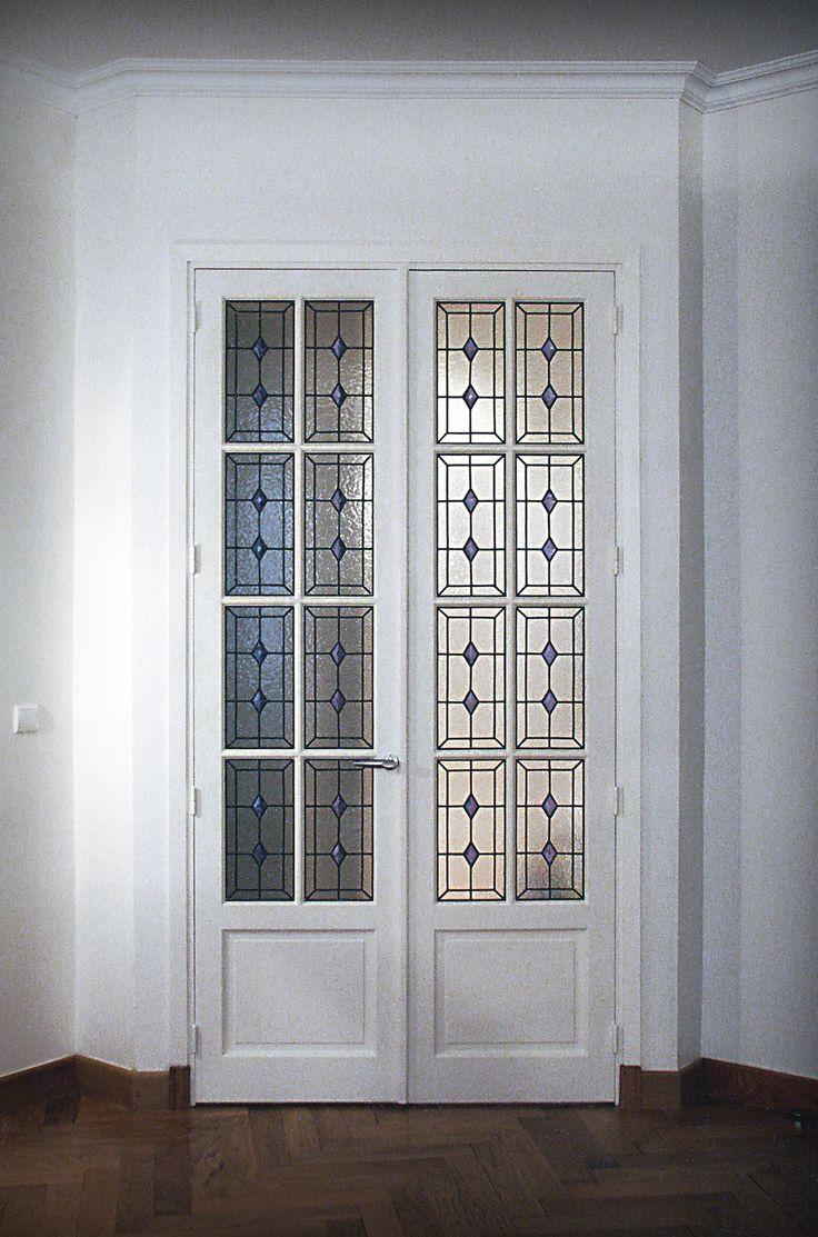 Porte intérieure appartement - Réalisation sur verre Cathédrale 4mm -- Films couleur et cabochons rapportés par collage UV - Honky Tonk Vitrail