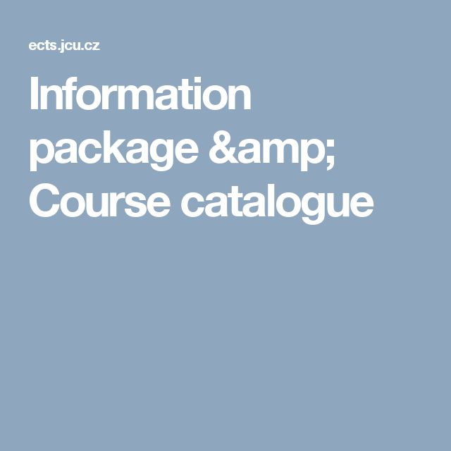 Information package & Course catalogue
