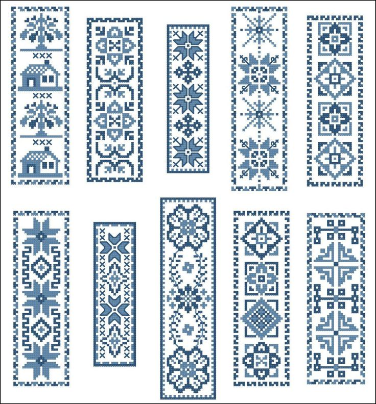 Victorian Blue BookMarks Cross Stitch PDF Chart via Etsy.