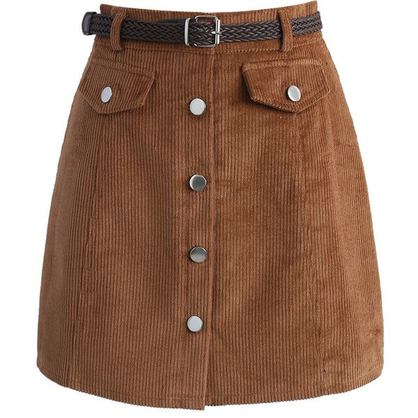 Chicwish Edgy Appeal Bud Skirt in Tan ($38) ❤ liked on Polyvore featuring skirts, brown, maxi skirt, tan mini skirt, mini skirt, brown skirt and corduroy skirt