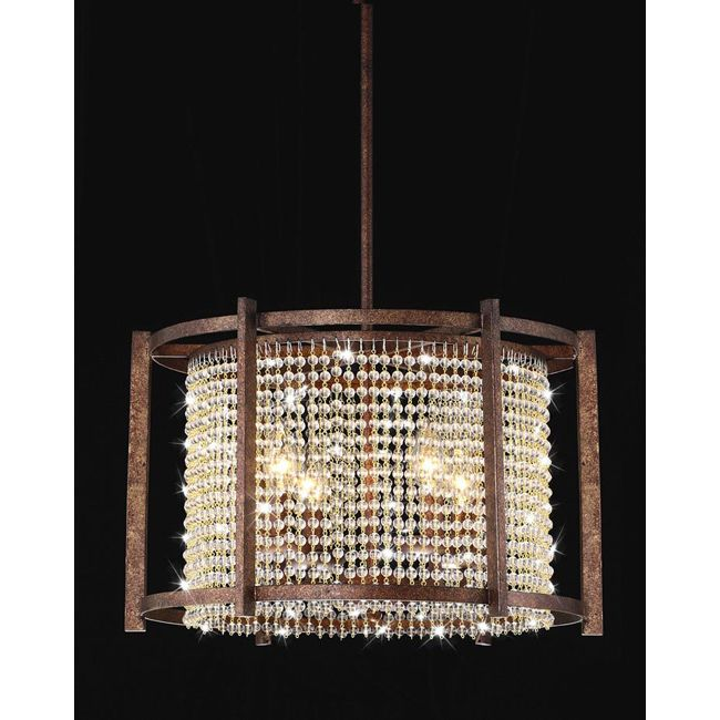 This stunning pendant features a dark brown finish with clear crystals that distribute light. The base of this chandelier is made of iron and requires four bulbs.
