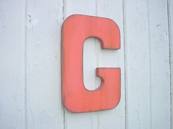 Wooden Wall Letters G Big 12 Letter Orange Vintage Style Shabby